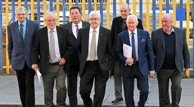 The so-called Hooded Men at a press conference in Belfast following the rejection of their case by the European Court of Human Rights
