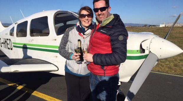 Yvonne McDaid and Shaun Hasson after the mid-air marriage proposal