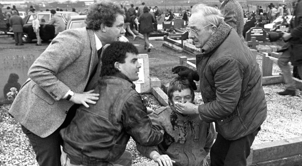 Martin McGuinness at Milltown Cemetery after Michael Stone went on rampage