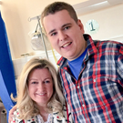 Mark and mum Jo-Anne Dobson in hospital before their operations