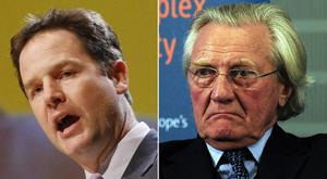 Ex-deputy prime ministers Sir Nick Clegg and Lord Heseltine (PA)