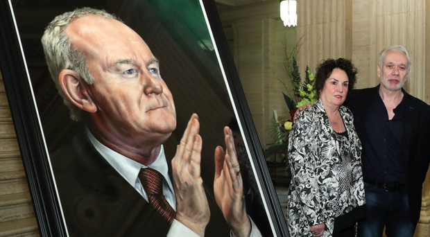 Portrait of Martin McGuinness unveiled at Stormont by his widow Bernie and artist Tony Bell