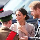 Prince Harry and Meghan Markle arrive for a visit to the Eikon Exhibition Centre in Lisburn where they are attending an event to mark the second year of youth-led peace-building initiative Amazing the Space (Brian Lawless/PA)
