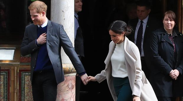 Prince Harry and Meghan Markle in Belfast (Peter Byrne/PA)