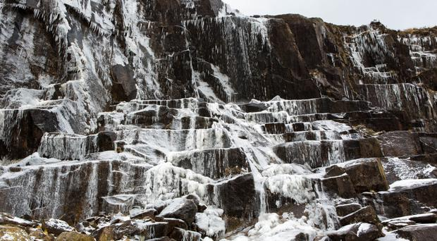 A waterfall in the Mournes is frozen solid by the Beast from the East