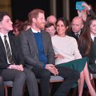 Prince Harry and Meghan Markle at the Eikon Centre with NI schoolchildren