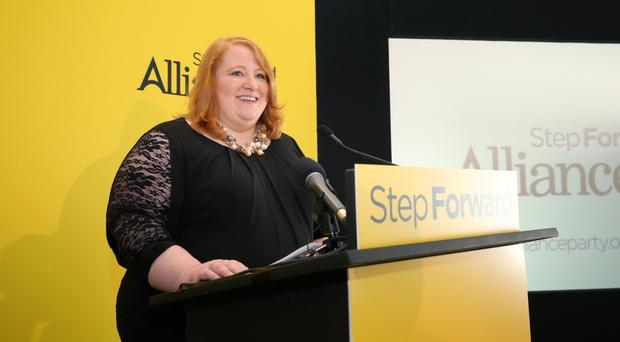 Naomi Long speaking at the Alliance conference