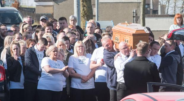 Funeral of Michael McGinley, who had been missing since January and was recovered from the River Foyle on Friday