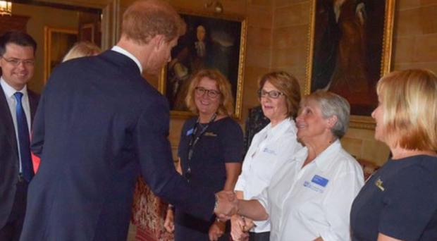 Dorothy Arbuthnot shakes hands with Prince Harry during his recent visit to Hillsborough Castle