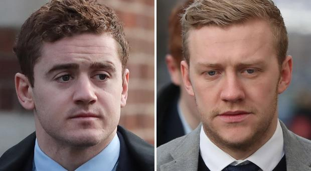 Paddy Jackson and Stuart Olding outside Belfast Crown Court (Niall Carson/PA)