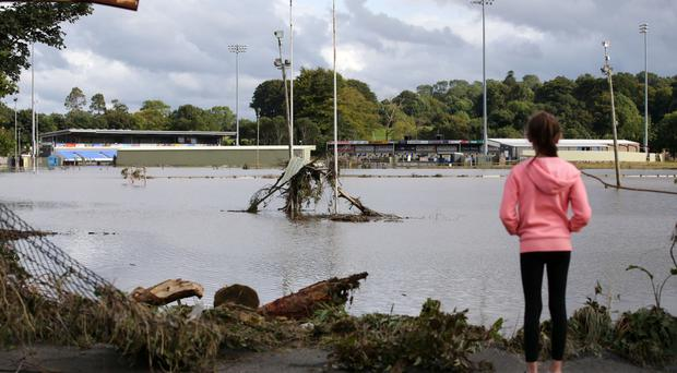 Flooded rugby pitches near the River Faughan at Drumahoe in August 2017