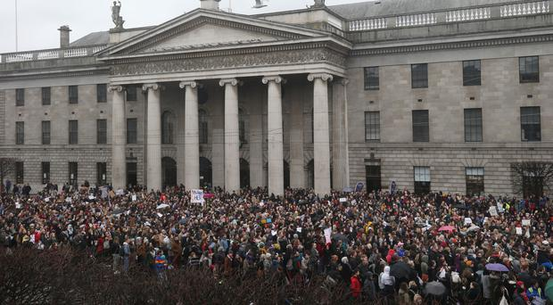 Hundreds of people gather outside the GPO in Dublin in solidarity with the woman at the centre of the Belfast rape case trial. Dublin.Picture credit; Damien Eagers 29/3/2018