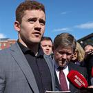 Paddy Jackson speaking outside Belfast Crown Court after he was found not guilty. (Niall Carson/PA)