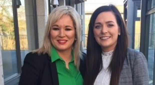 Michelle O'Neill with candidate Órfhlaith Begley
