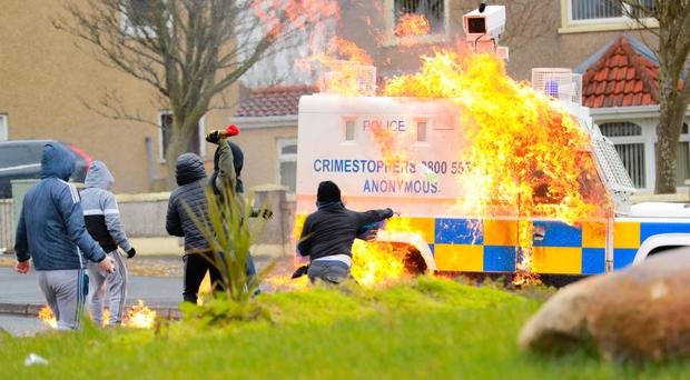 Violence at Creggan in Londonderry on Monday