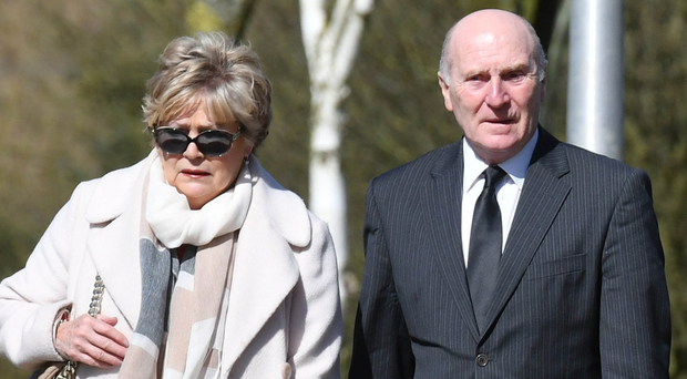 Ex-football manager Roy Coyle and his wife Abby were among mourners at a memorial service for the late sports journalist Adam Coates