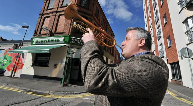 Jazz musician Linley Hamilton at the launch of this year's Cathedral Quarter Arts Festival at the Sunflower bar in Belfast yesterday