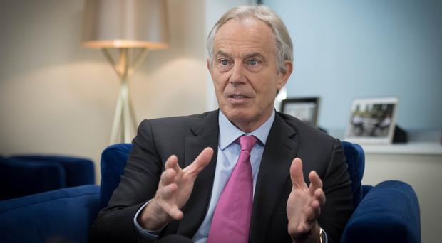 Former Prime Minister Tony Blair talking about the Good Friday Agreement (Stefan Rousseau/PA)