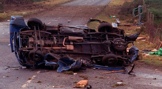 The scene of the 1992 IRA bomb attack at Teebane