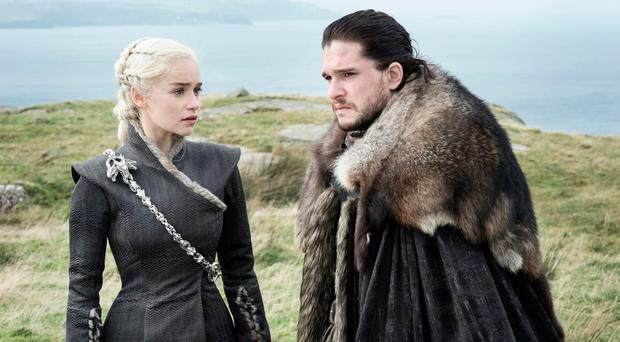 Emilia Clarke and Kit Harington in Games of Thrones