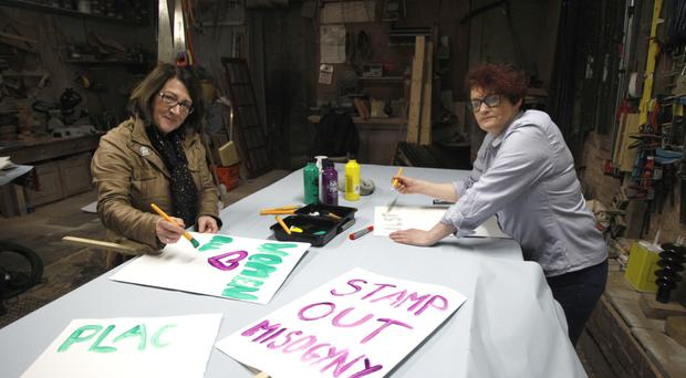 Anne McVicker and Helen Crickard prepare placards for tonight's protest outside Kingspan Stadium