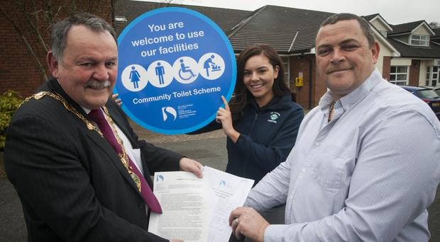 From left: Maoliosa McHugh launches the Community Toilet Scheme at the Diamond Centre, Claudy, with Jasmine O'Kane and Shay Clyde from the centre