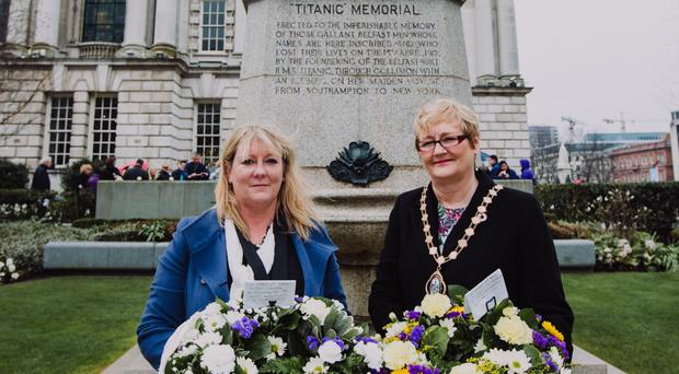 Deputy Lord Mayor Councillor Sonia Copeland and president of the Titanic Society Susie Millar at the Titanic Memorial Garden (Belfast City Council/PA)