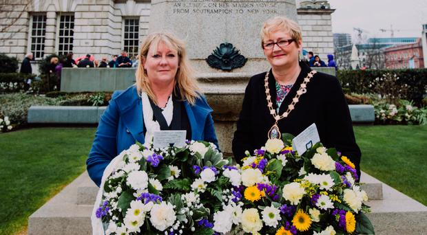 Titanic Society president Susie Millar and Deputy Lord Mayor Sonia Copeland prepare to lay wreaths at the service