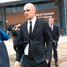 Republic of Ireland footballer Darron Gibson leaving South Tyneside Magistrates Court in South Shields yesterday