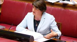 DUP leader and former Enterprise Minister Arlene Foster giving evidence at the Renewable Heat Incentive (RHI) inquiry yesterday