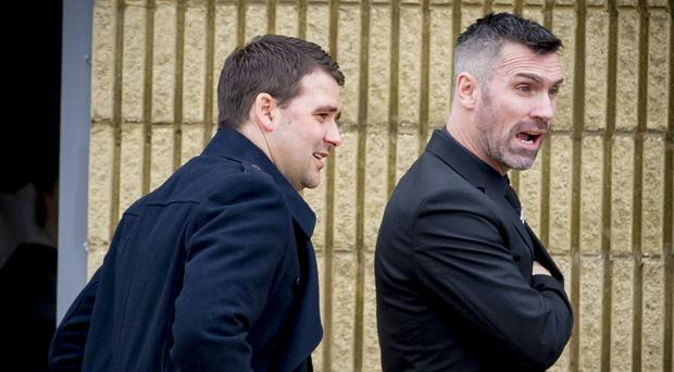 Ex-Northern Ireland teammates David Healy and Keith Gillespie (on right) at the funeral of Keith's father Harry