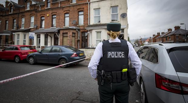 Police at the scene in the Orient Gardens area of north Belfast