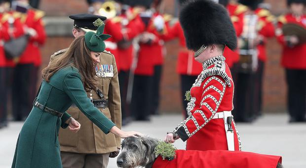 Catherine, Duchess of Cambridge, presents a shamrock to mascot Domhnall during St Patrick's Day parade