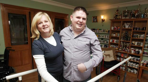 Yvonne McCoy with her brother Stephen who was badly injured in the Kegworth air crash that claimed 47 lives in 1989