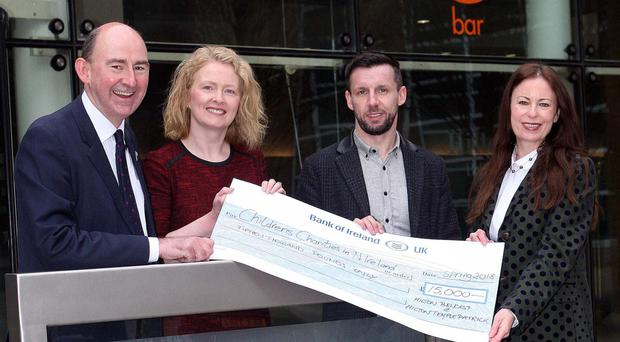 Mark Walker, general manager, Hilton Belfast; Paula Collins, general manager, Hilton Templepatrick, Martin Breen, Sunday Life editor, and Gail Walker, editor of the Belfast Telegraph, at the launch of the initiative