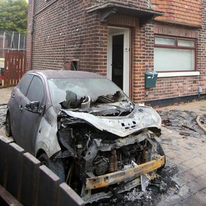 A car destroyed in the incident