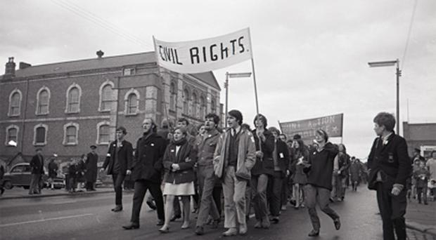 People's Democracy March in Belfast in 1968, photographed by Buzz Logan