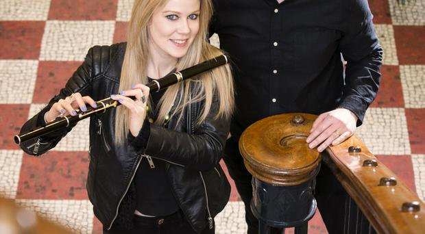 Flautist Eimear McGeown with Ciaran Scullion, Head of Music at the Arts Council