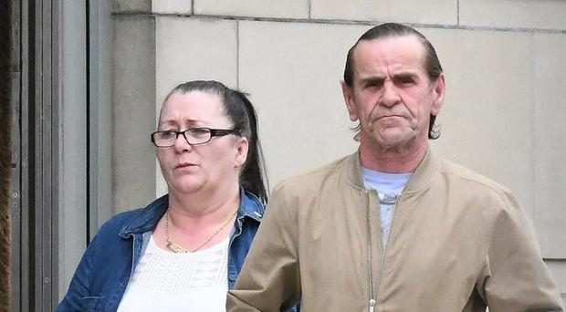 Margaret Goodman leaves court with her husband Malachy Goodman