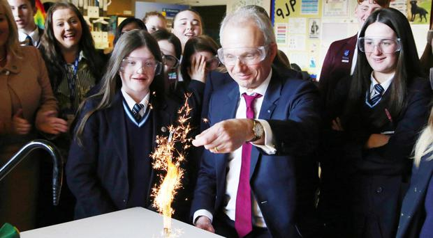 Cabinet Minister David Lidington during a tour of Hazelwood Integrated College in north Belfast yesterday