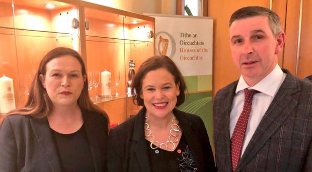 Ian Marshall, a unionist farmer who has been elected to the Seanad, with Sinn Fein president Mary Lou McDonald (centre) and Sinn Fein TD Louise O'Reilly