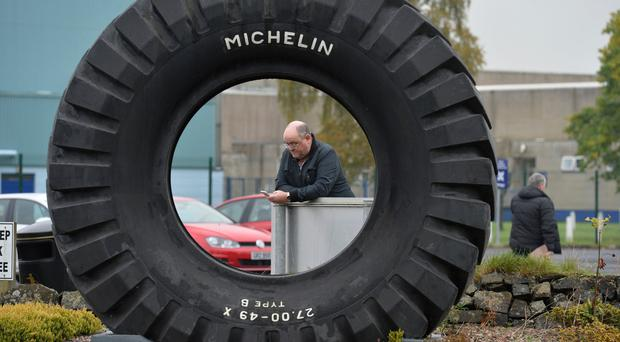 A Michelin worker after news about the firm's job losses