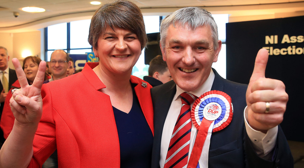 Arlene Foster pictured in 2016 with DUP candidate Thomas Buchanan, who in 2017 managed just over half the number of votes won by Sinn Fein