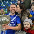 Terry Fitzpatrick savours League Cup success with wife Rosanne, daughter Scarlett and son Bill back in February.