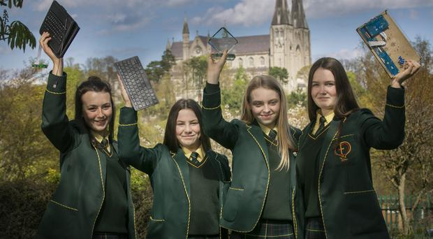 St Catherine's College students (from left) Suzannah Conway, Annarose Tennyson, Aoife Tiffney and Molly McNally are off to Buckingham Palace