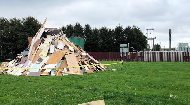 The bonfire was built close to an electricity substation in Newtownards
