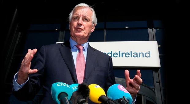 EU's chief Brexit negotiator Michel Barnier outside InterTradeIreland in Newry yesterday