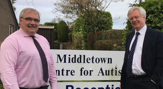 David Davis (right) visited an autism centre in Middletown, Co Armagh during a visit to the Irish border.