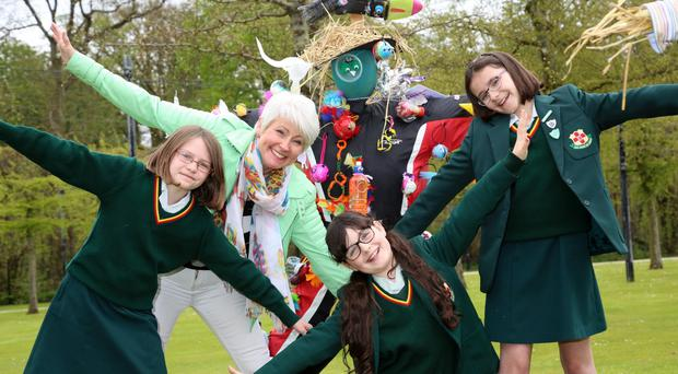 On opening day of the Allianz Garden Show Ireland at Antrim Castle Gardens with Pamela Ballantine were Friends' School Prep pupils Olivia, Louisa and Jessica