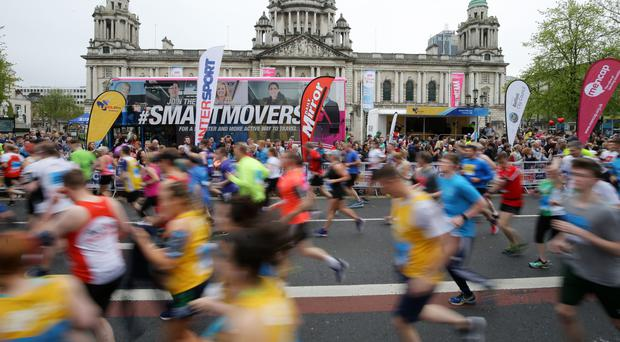 The start of the Belfast City Marathon yesterday